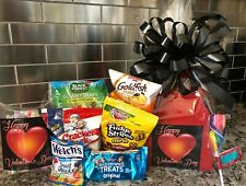 Valentines Kids Gift Basket-Box With Chocolates-Cookies-Candy Red Box-Black Bow