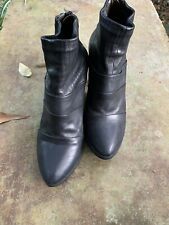 Ladies Black COCLICO MELINA Leather Booties With Back Zip Sz.5.5""