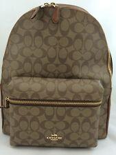 New Coach F58314 F38301 Charlie PVC Backpack Double Shoulder Bag Khaki/Saddle