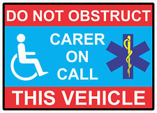 1 large Carer on call Sticker Disabled Please Be Patient Vinyl Motability Home
