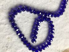 Pack of 70 Faceted Glass Roundel Beads ~ 8mm  ~ Royal Blue
