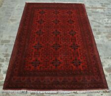 F1358 Vintage Handmade Afghan Turkman Khall Mohammdi Area Wool Rug 6'7 x 10 Ft