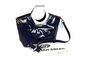 NWT JONATHAN ADLER Goldie Patent Leather Blue White Hex Handle Tote Bag Handbag