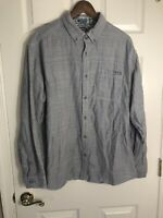 Eddie Bauer Button Up Gray Long Sleeve Cotton Shirt Classic Fit Mens XL