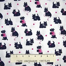 Pet Fabric - Navy Blue Scotty Dogs on White - Michael Miller YARD