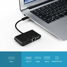 USB-C to HDMI Gigabit Ethernet +USB3.0 + Type C/F Charging Adapter for Mac TV PC