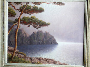 Grand TABLEAU signé Claude Chauvignac huile toile marine reflet mer pin calanque