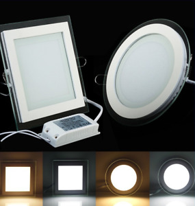 Dimmable 6W/9W/12W/18W Glass Edge LED Recessed Ceiling Panel Light Downlight
