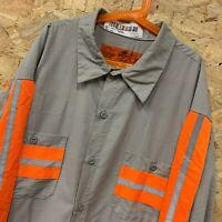 Vintage RED KAP Workwear Work Long Sleeve Shirt Fluorescent / Grey USA 2XL XXL