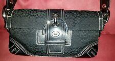 Coach Signature Soho Mini Shoulder Bag - black jacquard w/ leather trim.