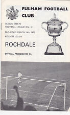 FULHAM  V ROCHDALE 3RD DIVISION 14/3/70