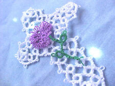 Tatted Cross (2)  Bookmarks Flowers Lace White Bible Gift Dove Country Tatting