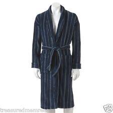 Men's Croft & Barrow Plush Robe ~ Size L/XL ~ Navy Stripe ~ NWT