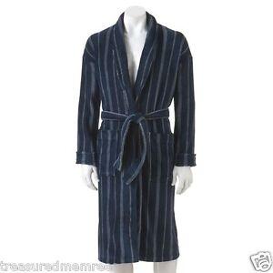 Croft & Barrow Plush Navy Stripe Robe ~ Size S/M ~ New With Tag $75