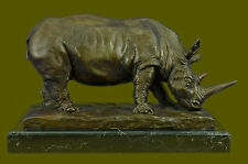 "14"" Lucky European Bronze Reptiles Bull Ox Rhino Rhinoceros Horn Statue Figurine"