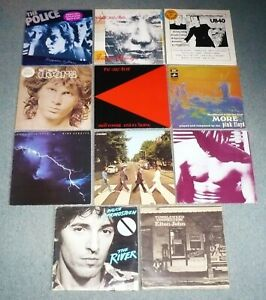 Lot de 11 vinyles, 33 tours, Pop, Rock. Pink Floyd, The Beatles, The Doors...