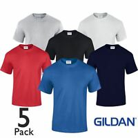 5 Pack Plain Gildan Mens T-Shirt Heavy Cotton Short Sleeve Plain Tee T Shirt