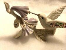 Lenox Porcelain Garden's Brilliance Jeweled Hummingbird Figurine Pale Flowers