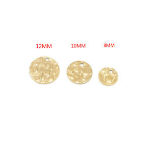 50pcs Gold Plated Stainless Steel Round Charms DiscTags for DIY Jewelry Making