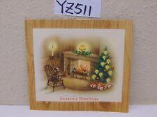 VINTAGE CHRISTMAS CARD 1940'S SEASON'S GREETINGS-FIREPLACE-TREE-CANDLE-CHAIR