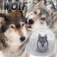 WR Snow Wolf Animal Moneda Conmemorativa Plateada Para Regalos De Colección