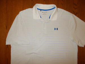 UNDER ARMOUR HEAT GEAR SHORT SLEEVE WHITE STRIPED POLO SHIRT MENS 2XL EXCELLENT