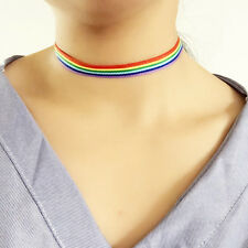 Simple Rainbow Choker Necklace Gay Pride LGBT Ribbon Clavicle Chain Jewelry lp