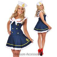 Ladies Womans Sexy Fancy Dress Blue & White Sailor Costume 6 8 10 12 14 16