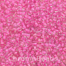 50g glass seed beads - Transparent with Candy Pink Inside - approx 2mm,size 11/0