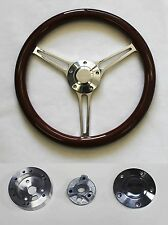 "1969 - 1994 Camaro Steering Wheel 14 3/4"" Mahogany Wood on Billet Camaro Cap"