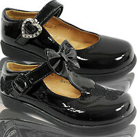 NEW GIRLS CHILDRENS FLAT MARY JANE TOUCH BUCKLE STRAP DOLLY SCHOOL SHOES SIZE