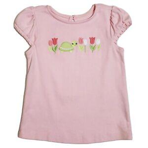 Vintage Gymboree Tulip Garden Pink Cap Sleeve Turtle Tee Top Girls 5T