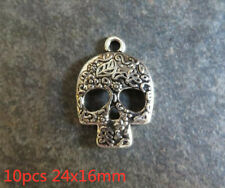 10pcs 16x20mm Steampunk Skull Charms Antique Silver Tone Pendant Bead Making DIY