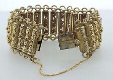 "Antique Chinese Gold Gilt Floral Filigree Sterling Silver Chain Bracelet - 6.25"""