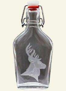 Glass Swing Top Flask Liquor Bottle with Engraved Deer Elk Shooting Hunters Gift
