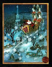 Caspari Vintage Santa Claus Sleigh Church Gold Shine Christmas Greeting Card New