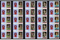 ST KILDA SET OF 5 150th FOOTBALL STRIPS OF 10 MINT VIGNETTE STAMPS