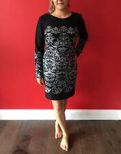 NEXT Black Grey Deco Print Bodycon Stretch Long Sleeve Dress Work Casual Size 18