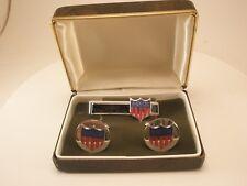 -AAMS Vintage Cuff Links & Tie Bar set in box shield