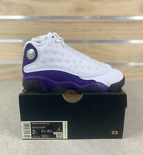 Nike Air Jordan 13 Retro PS White Black Court Purple Lakers 414575 105 Size 2Y