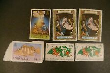 6 Anguilla used postage stamps philately kiloware postal letter mail Caribbean