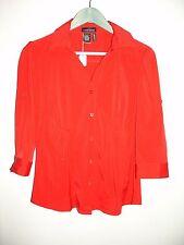Cotton Express Women's Size L(38) Red V-Neck Button Down Shirt Stretch 212-10619