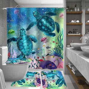 Sea Turtle Bathroom Rug Set Shower Curtain Thick Toilet Lid Cover Bath Mat