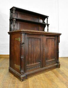 Antique carved oak chiffonier cabinet - buffet server sideboard - side cupboard