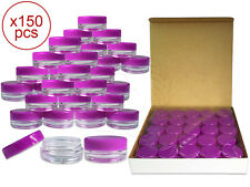 150 Pieces 3Gram/3ml Plastic Round Clear Sample Jar Containers with Purple Lids