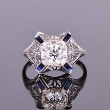 Old European Diamond and Sapphire Antique Ring