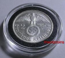 WWII German 1938 NAZI  2 Reichsmark Silver coin W/ Swastika