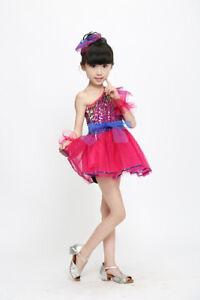 Costume Tutu Dresses Girls Sequined Dance Dress Kids Modern Jazz Latin Dancewear