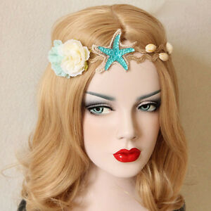 Beach Headband Starfish Flowers Sea Shells Elastic Fancy Dress Party Hair Band