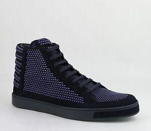 Gucci Men's Suede Leather Studs Lace-up Hi Top Sneaker Dark Blue 391687 4018
